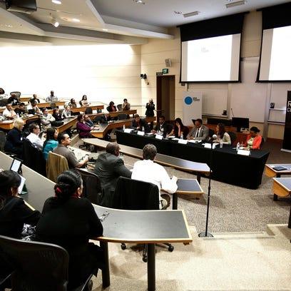 Rev. Jesse Jackson speaking on a panel sponsored by