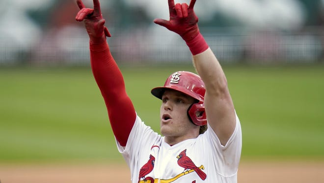 St. Louis Cardinals' Harrison Bader celebrates after hitting a solo home run during the fourth inning of a baseball game against the Milwaukee Brewers Sunday, Sept. 27, 2020, in St. Louis.
