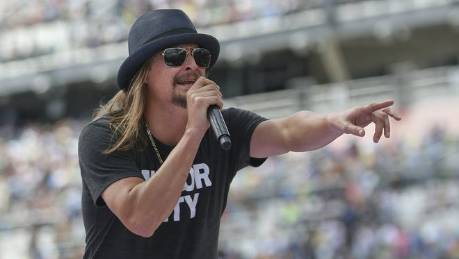 Singer Kid Rock performs a concert before the Daytona 500 auto race on Feb., 22, 2015, in Daytona Beach, Fla.