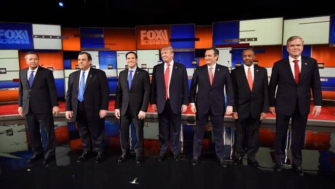 Republican candidate line up for the Jan. 14, 2016, prime-time debate in North Charleston, S.C.