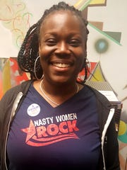 April Anderson, 43, of Detroit wore a T-shirt that