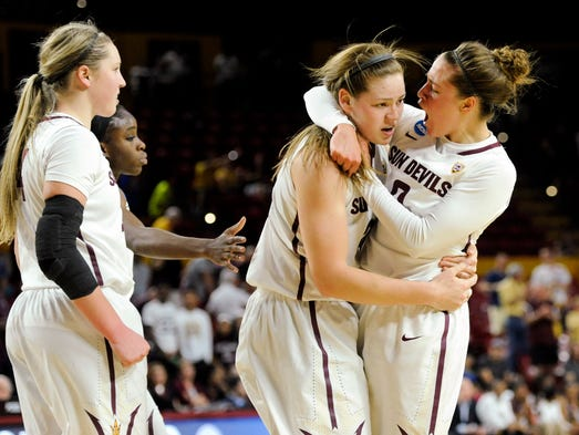 Arizona State guard Katie Hempen, right, congratulates
