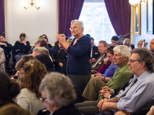 Rep. Maureen Dakin, D-Colchester, speaks during a caucus