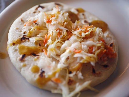 A pupusa at El Salvador Del Mundo in Des Moines.