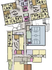 Floor plan of new Fremont Elementary shows renovated original part on the south and the new addition to the north.
