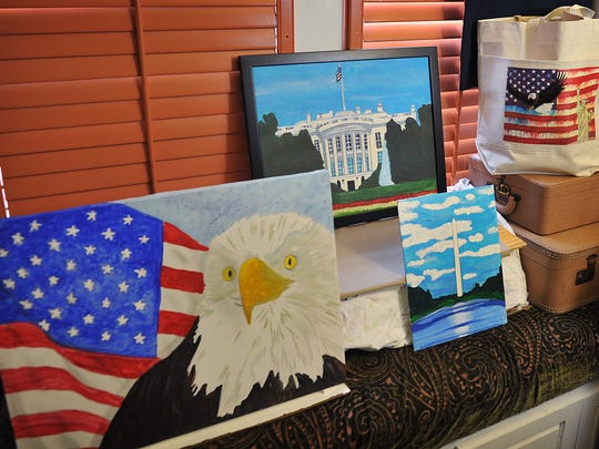 Paintings by fifth grade artist Trae Steele. Steele enjoys patriotic subjects and is selling his artwork to fund a school trip to Washington D.C. His artwork will be part of the After Hours Artwalk downtown Thursday.