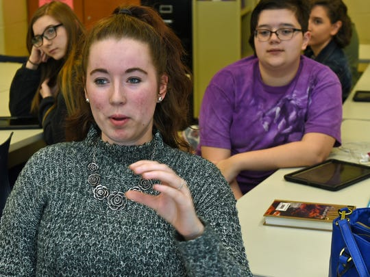 Kira Wright leads a discussion in her psychology class on Wednesday, March 29, 2017 at Career Magnet School, Chambersburg. A special meeting will be held on April 18 to discuss future plans for both CASHS and CMS.