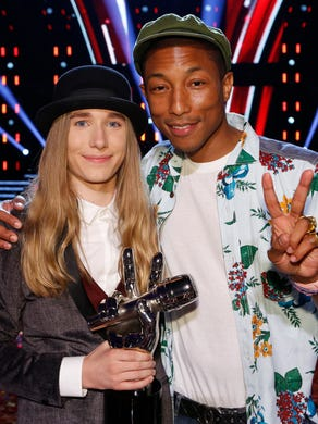 """Fredericks chose coach Pharrell Williams after belting out """"I'm a Man of Constant Sorrow"""" during the blind audition phase."""