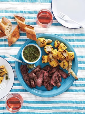 Skirt Steak and Corn With Chimichurri: Chimichurri, a fresh-herb-and-garlic sauce from Argentina, tastes even better after the flavors have had time to meld.