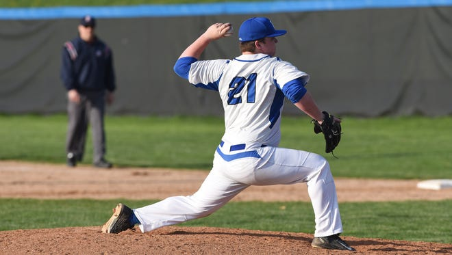 Zanesville's Darrick Gibbons came on and got the save in the Blue Devils' 3-1 win over ECOL rival Dover on Wednesday.
