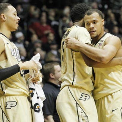 Purdue sophomores Kendall Stephens (from left), Basil Smotherman and Bryson Scott are part of a young but maturing team.