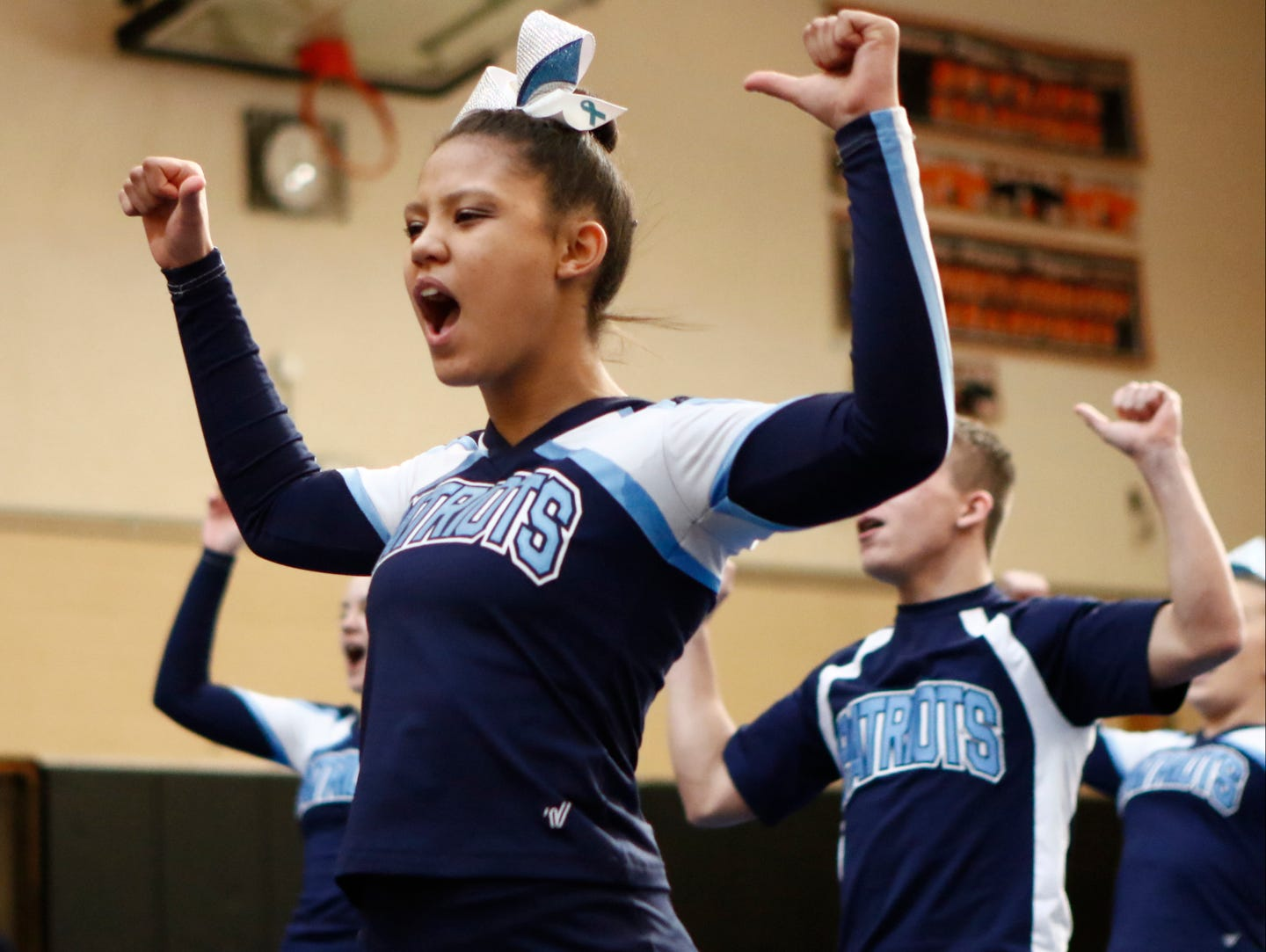 John Jay High School competes in the the section 1 cheerleading championships at White Plains High School in White Plains on Saturday, February 18, 2017.