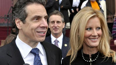 Governor Andrew Cuomo, left, with his girlfriend, Sandra Lee.