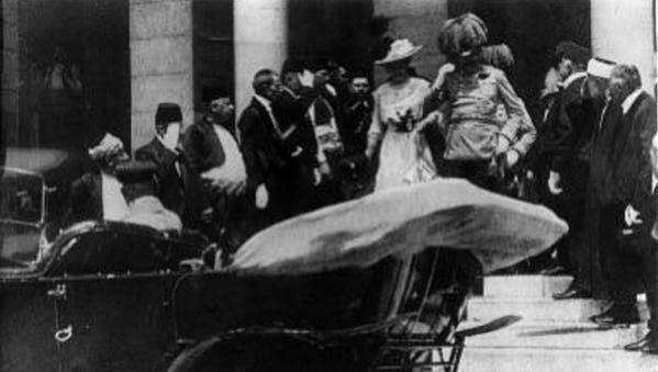 This file photo, reproduced from a French magazine dated July 4, 1914, shows Austrian Archduke Franz Ferdinand and his wife, Sophie, in Sarajevo on June 28, 1914, the day they were both assassinated.
