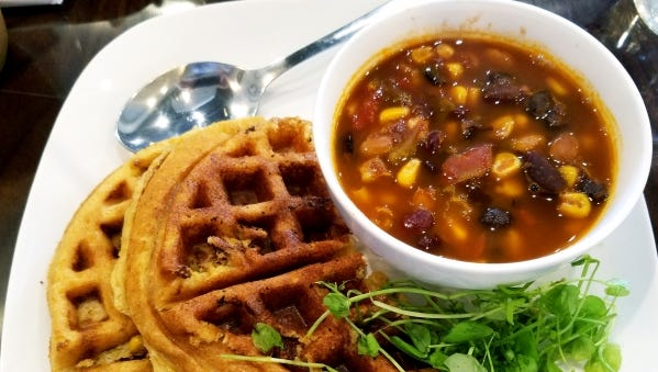 deLITEful kitchen's cornbread waffle and vegan chili combo was a four-bean chili and warm cornbread, cleverly disguised as a Belgium waffle. It was great for dipping into the chili.