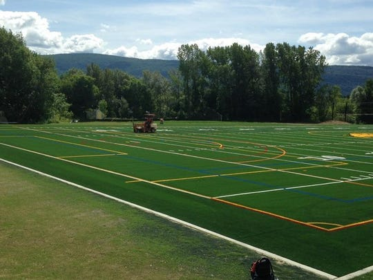 The new artificial turf field at Burr and Burton Academy in Manchester was recently installed.