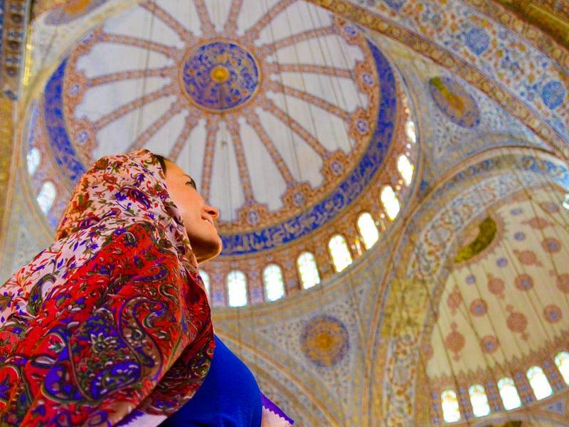Collette Stohler at a mosque in Bodrum, Turkey.