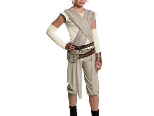 """Young Jedis can become Rey, the heroine of """"Star Wars: The Force Awakens,"""" in this deluxe costume. $34.99 at costumeexpress.com."""
