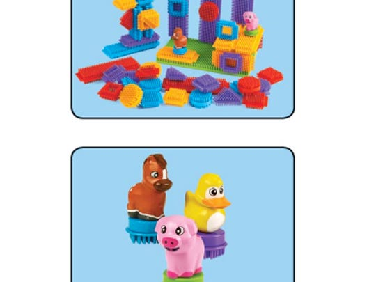 The base of the three animal figures in Bristle Builders for Toddlers can detach, posing a choking hazard to young children.
