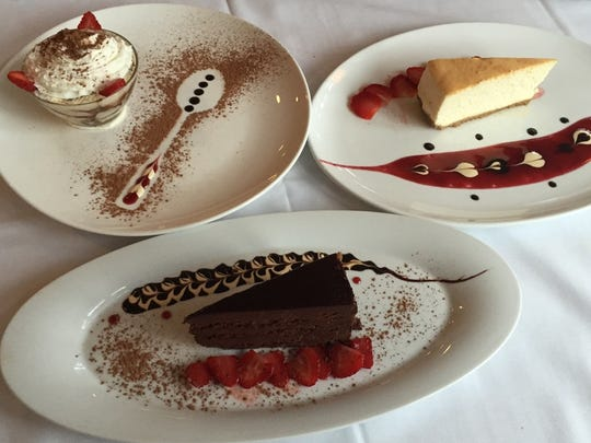 A selection of desserts at Villa Amalfi in Toms River includes (clockwise from front) chocolate cake, tiramisu and cheesecake.