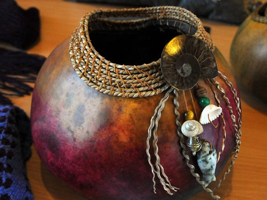Annelies Gebert taught a class in creating a marbled gourd, resulting in this piece made by Jodi Monfils-Yocum.