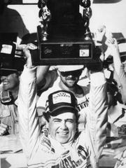 Geoff Bodine celebrates his victory in the 1986 Daytone 500.