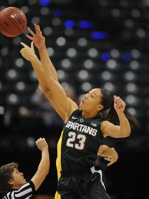 Michigan State Spartans forward Aerial Powers goes up for the tip off against the Maryland Terrapins during the women's Big Ten Conference tournament at Bankers Life Fieldhouse.