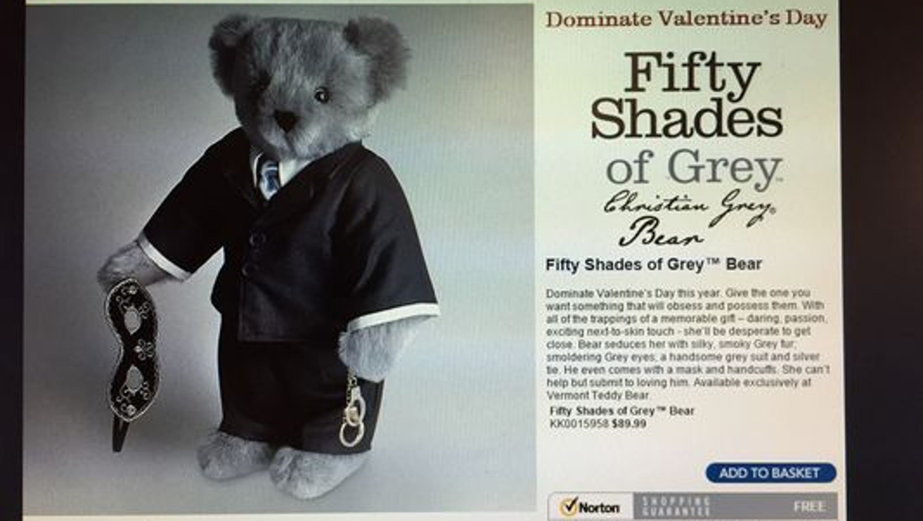 39 fifty shades of grey 39 bear wants to 39 dominate 39 v day. Black Bedroom Furniture Sets. Home Design Ideas