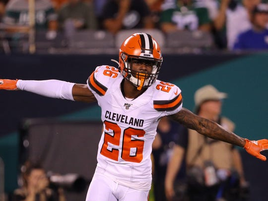 EAST RUTHERFORD, NEW JERSEY - SEPTEMBER 16: Greedy Williams #26 of the Cleveland Browns reacts after breaking up a pass in the second quarter against the New York Jets at MetLife Stadium on September 16, 2019 in East Rutherford, New Jersey. (Photo by Mike Lawrie/Getty Images)