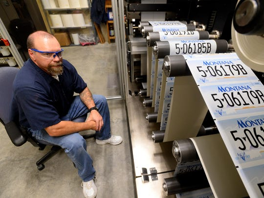 The license plate facility at Montana State Prison in Deer Lodge is normally manned by four inmates as part of Montana Correctional Enterprises, which oversees the inmate work program.