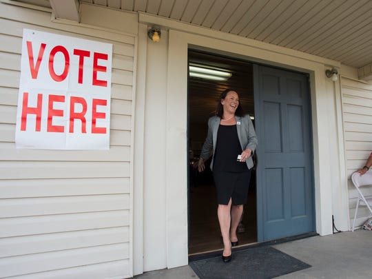 U.S. Rep. Martha Roby leaves after voting in the primary