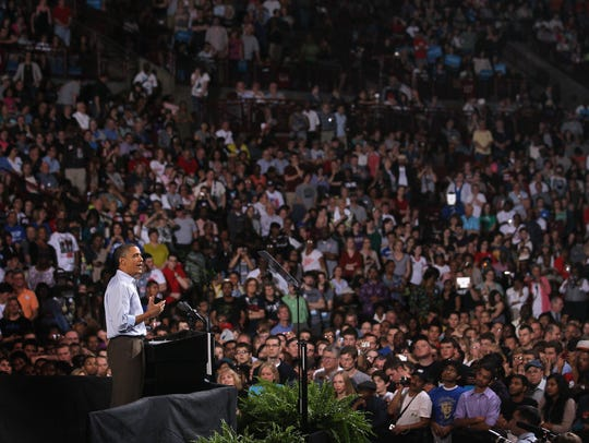 President Obama speaks to supporters at a rally at