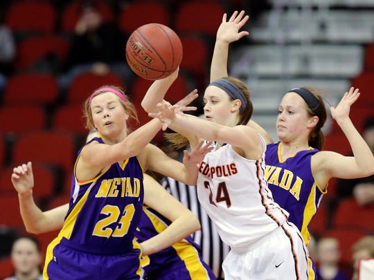 Mediapolis' Mackenzie Rogers, right, is a gifted scorer