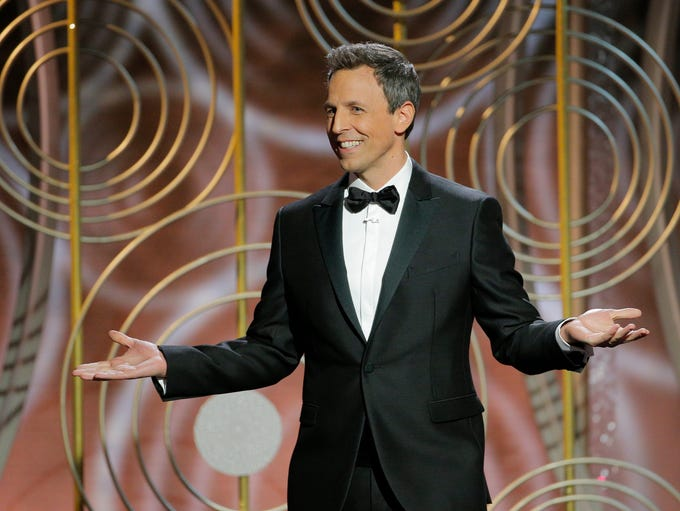 Seth Meyers delivers his opening monologue at the 75th