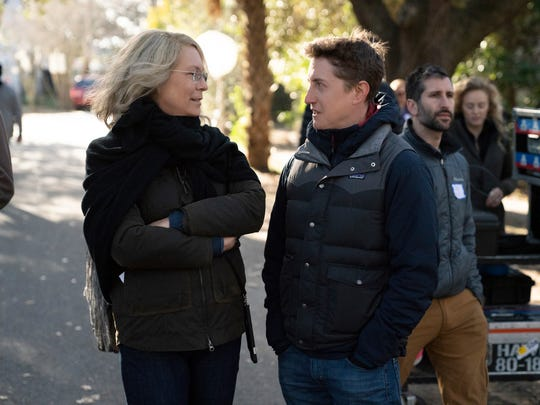 Jamie Lee Curtis and director David Gordon Green converse
