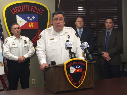 Lafayette Police Chief Toby Aguillard speaks at a press