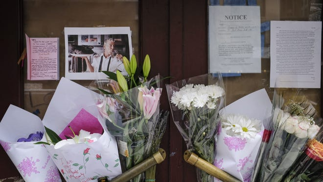 Flowers and notes left for Anthony Bourdain in New York City on June 8, 2018.