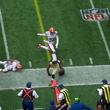 Saints head coach Sean Payton said Ingram injured his hand on the ground during this play in the first quarter (5:23) against the Browns on Sunday.