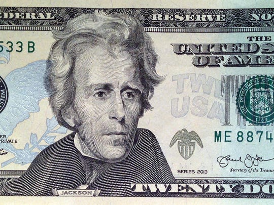 This April 17, 2015, file photo provided by the U.S. Treasury shows the front of the U.S. $20 bill, featuring a likeness of Andrew Jackson, seventh president of the United States. A Treasury official said Wednesday, April 20, 2016, that Secretary Jacob Lew has decided to put Harriet Tubman on the $20 bill, making her the first woman on U.S. paper currency in 100 years. (U.S. Treasury via AP, File)