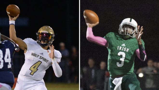 Holy Spirit senior quarterback Josh Zamot, left, and Camden Catholic junior quarterback Rob McCoy Jr., right, once shared a crib. They'll face each other Friday night in Absecon.