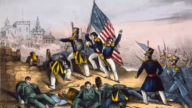 """""""Attack on Chapultepec, Sept. 13th 1847--Mexicans routed with great loss"""" - E. B. & E. C. Kellogg, Library of Congress"""