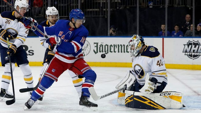 Buffalo Sabres goaltender Carter Hutton, right, makes a save as New York Rangers center Ryan Strome (16) looks for a rebound during the second period of an NHL hockey game, Friday, Feb. 7, 2020, in New York.