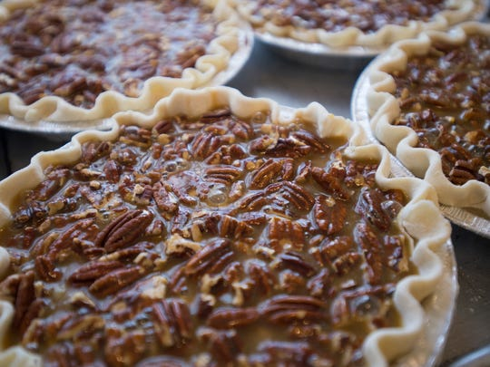 Pecan pies sit ready for baking at Me Oh My Coffee and Pie in Laporte Wednesday, November 23, 2016. The bakery has produced around 300 pies for the Thanksgiving holiday including nearly 100 pumpkin pies.