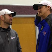Saints backup quarterback Luke McCown, right, talks with former LSU defensive back Andy Stroup during this weekend's FCA Athlete Retreat in Bethany, La.
