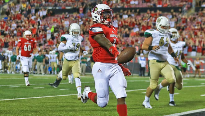 Louisville's Traveon Samuel had this easy touchdown against Charlotte in the Cardinals' opening game Sept. 1, 2016.