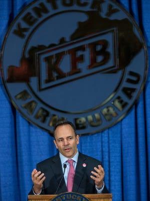 Governor Matt Bevin spoke during the Kentucky Ham Breakfast at the fairgrounds. Aug. 24, 2017.