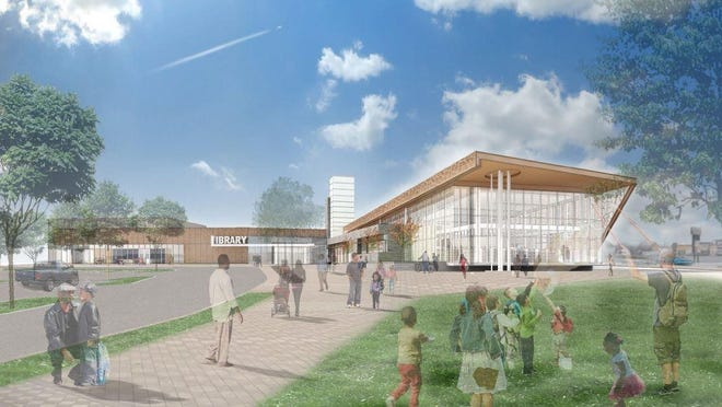 A rendering of the New Castle library on Route 9 library at Hillview Avenue is shown. Officials plan to break ground on the library in September.