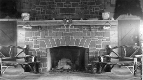In 1940-1941, Larry Johnson built the fireplaces of the first reconstructed Great Hall at Grand Portage National Monument.