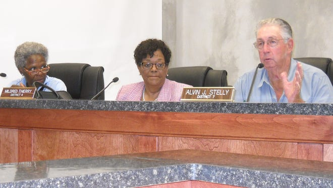 Nancy Carriere, Mildred Thierry and Alvin Stelly during Wednesday's Parish Council meeting.
