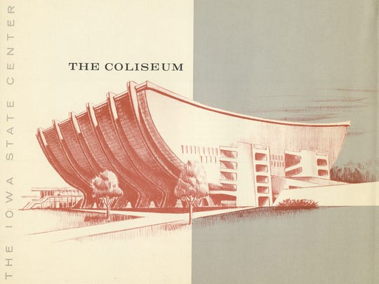 "An early design for Hilton Coliseum, from ""Campus Beautiful,"" a new book about the school's history."